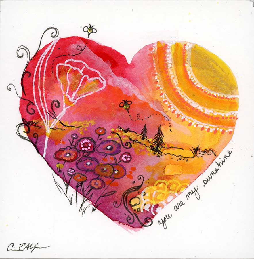 """SOLD - You are my Sunshine Heart, 4"""" x 4"""", mixed media"""