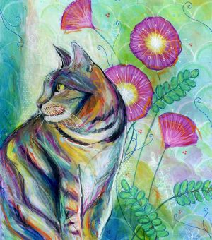 """""""Tabby Cat and Pink Flowers"""", 11"""" x 14"""", mixed media"""