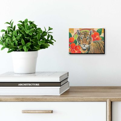 """""""Tiger in Hibiscus"""", 5"""" x 7"""", mixed media"""