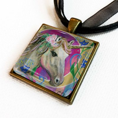 Unicorn Wearing Pink Flowers - Pendant