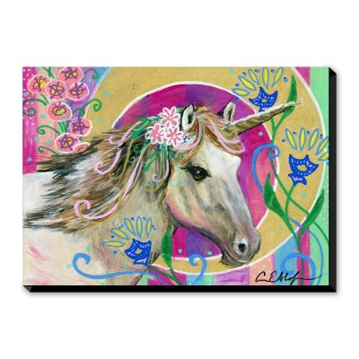 Unicorn Wearing Pink Flowers - Art Print
