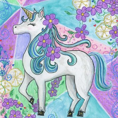 """Unicorn with Purple Flowers"", 8"" x 10"", mixed media"