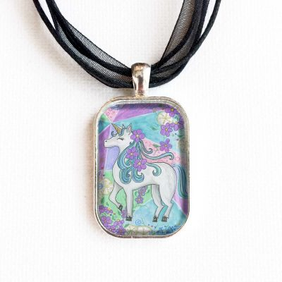 Unicorn with Purple Flowers - Pendant