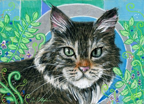 """SOLD - """"Whiskers and Ferns"""", 7"""" x 5"""", mixed media"""