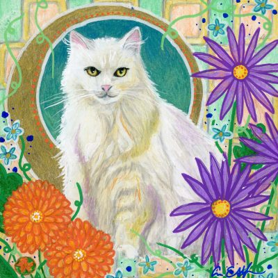 """""""White Cat in Mums"""", 6"""" x 6"""", mixed media"""