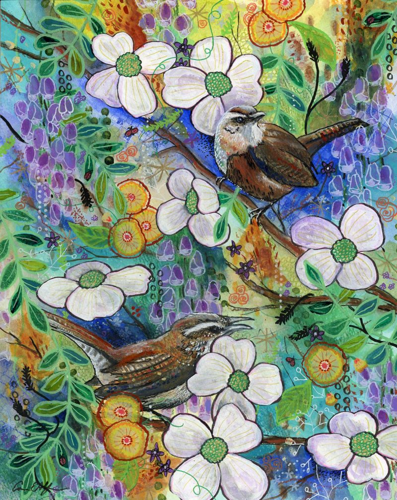 "Wrens in Dogwoods, 11"" x 14"", mixed media"