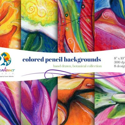 Colored pencil backgrounds - Botanical Collection
