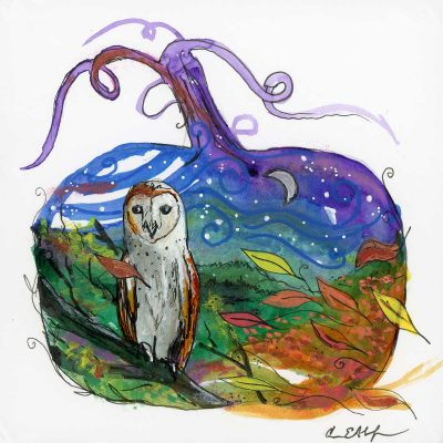 "Barn Owl Pumpkin, 4"" x 4"", mixed media"