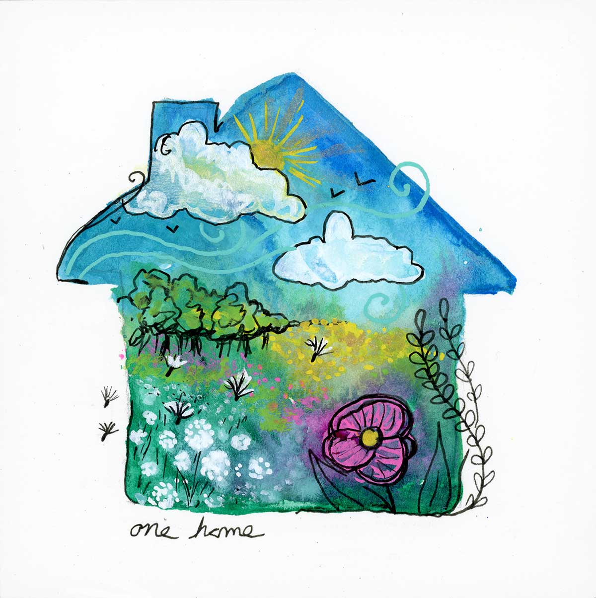 """One Home, 4"""" x 4"""", mixed media"""