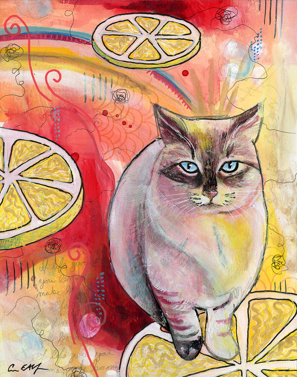 """SOLD - Sour Puss #2, 8"""" x 10"""", mixed media"""