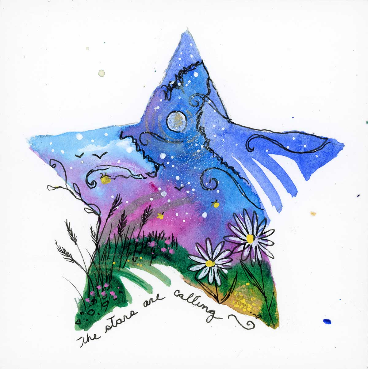 """SOLD - The Stars are Calling, 4"""" x 4"""", mixed media"""
