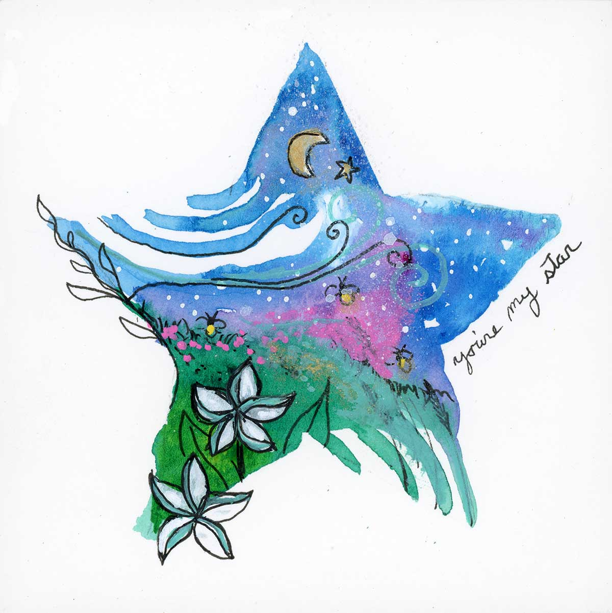"""SOLD - You're My Star, 4"""" x 4"""", mixed media"""