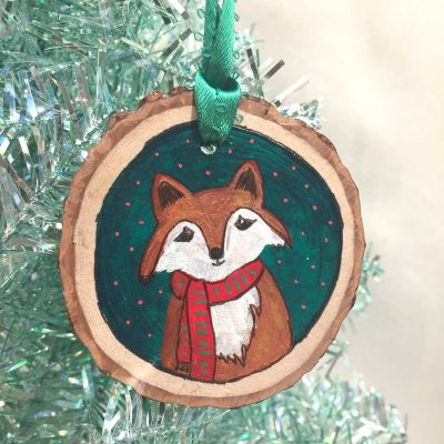 Fox with Red Scarf Ornament - Original Art