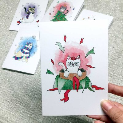 Christmas Cats - Pack of 5 Cards
