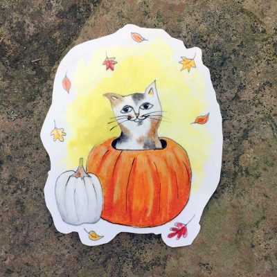 Fall Cat Stickers - Set of 5