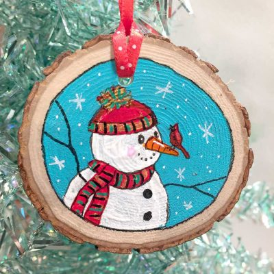 Snowman and Cardinal Ornament - Original Art