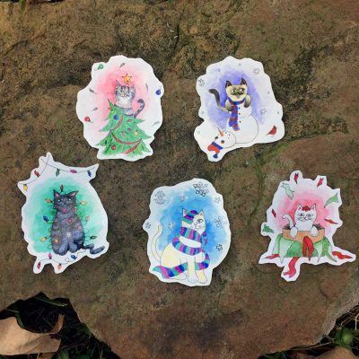 Winter Cat Stickers - Set of 5