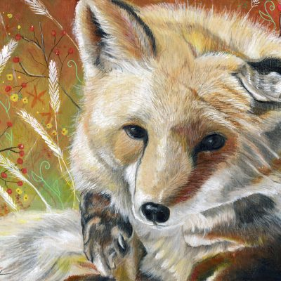 "SOLD - Dylan's Fox, 10"" x 8"", colored pencil"