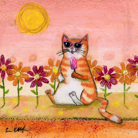 "Summer Cat, 6"" x 6"", mixed media"