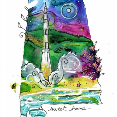 """Saturn V and Fireflies, 4"""" x 6"""", mixed media"""