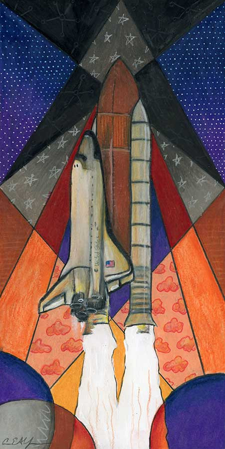 """Discovery Night Launch, 6"""" x 12"""", mixed media"""