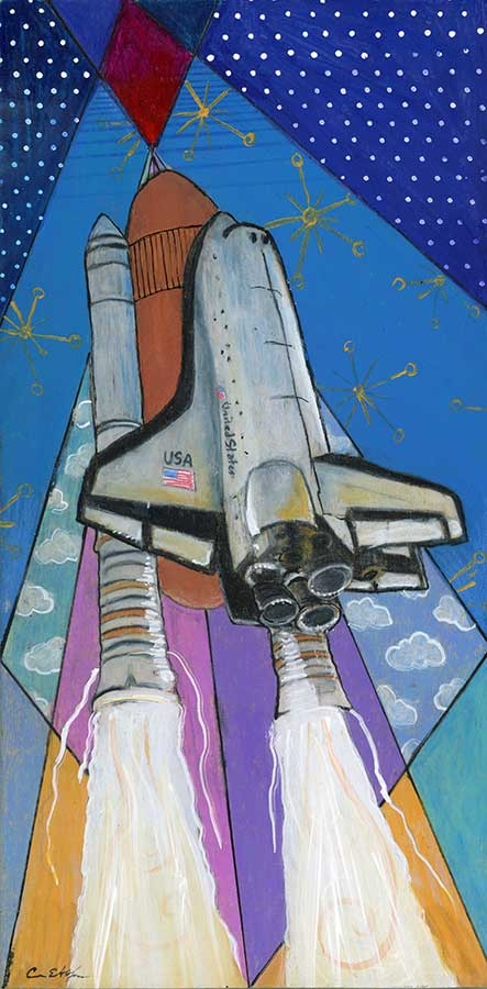 """SOLD - Space Shuttle #2, 6"""" x 12"""", mixed media"""