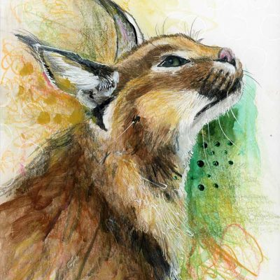 """SOLD - Caracal Watching, 8"""" x 10"""", mixed media"""