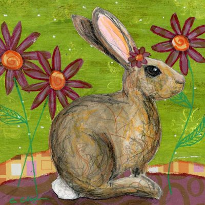 """Cottontail, 6"""" x 6"""", mixed media"""