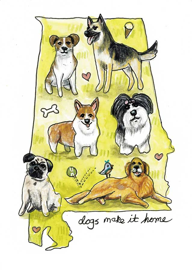 """Dogs Make It Home #1, 5"""" x 7"""", mixed media"""